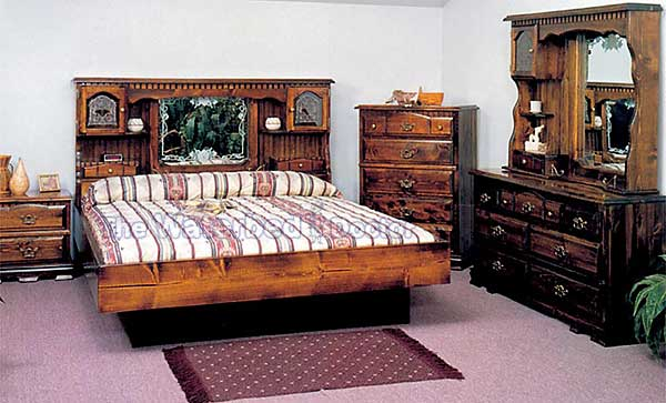 Country floral waterbed with 9 inch riser for Headboard and dresser