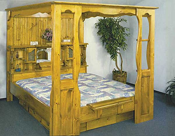 canopy waterbed with 6 drawer matching pedestal